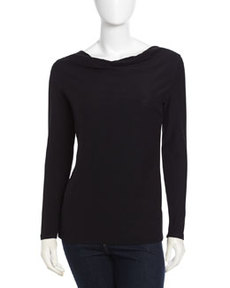 James Perse Long-Sleeve Cowl Neck Top, Black