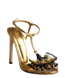 Gucci gold leather bead embellished peep-toe sandal