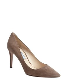 Prada taupe suede pointed toe pumps