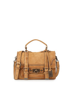 Frye Cameron Small Leather Satchel Bag, Natural