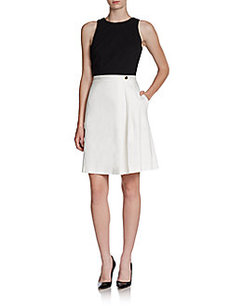 Cynthia Steffe Pia Colorblock Mixed-Media Flared Dress
