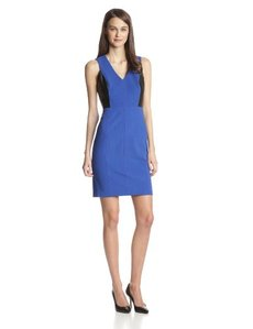 Marc New York by Andrew Marc Women's Sleeveless Dress with Faux-Leather Panel