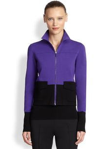 Akris Punto Wool Colorblock Knit Jacket