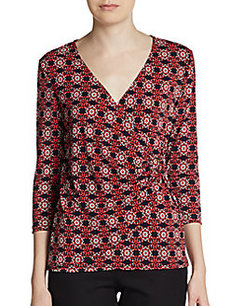 Ellen Tracy Printed Wrap Top