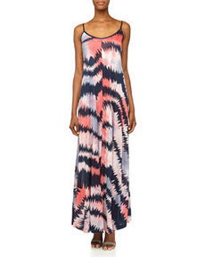 French Connection Electra Tie-Dye/Stripe Jersey Maxi Dress, Nocturnal/Multi