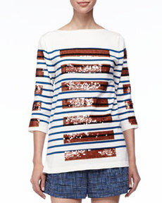 Sequined-Stripe Bateau Tunic   Sequined-Stripe Bateau Tunic