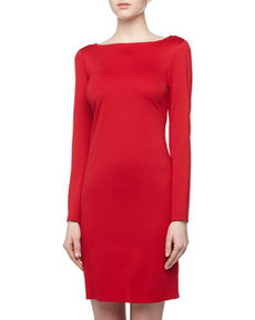 Isaac Mizrahi Long-Sleeve Ponte Sheath Dress, Red