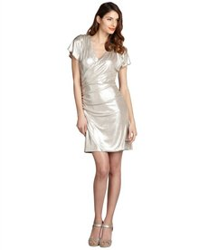 Laundry by Shelli Segal champagne shimmer jersey knit beaded shoulder dress