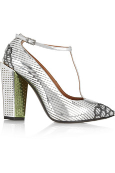 Fendi Metallic leather T-bar pumps