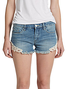 Saks Fifth Avenue GRAY Lace-Trim Cut-Off Shorts