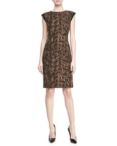 Lafayette 148 New York Leopard-Print Cap-Sleeve Cosette Dress