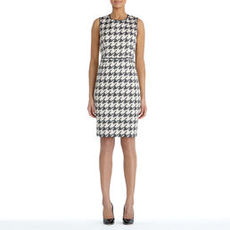 Houndstooth Sleeveless Sheath Dress