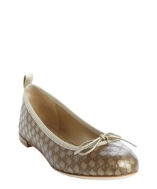 Gucci champagne microguccissima leather bow detail flats