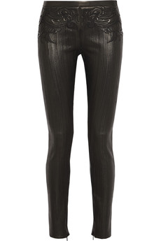 Roberto Cavalli Embroidered leather skinny pants