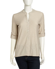 James Perse Slub Knit 3/4-Sleeve Top, Flax