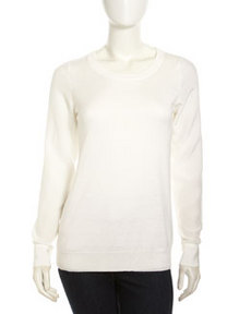 Joie Silk-Sleeve Sweater, Porcelain