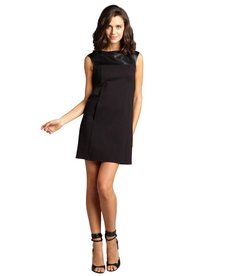 A.B.S. by Allen Schwartz black ponte knit cap sleeve and faux leather dress