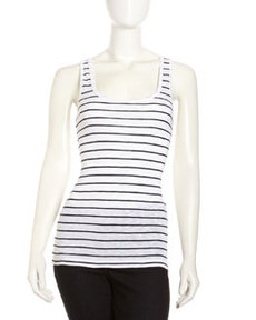 French Connection Striped Scoop-Neck Tank, White/Nocturnal