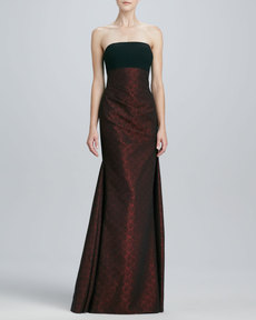 David Meister Strapless Brocade Gown