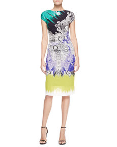 Etro Cap-Sleeve Reptile Paisley Dress, Purple/Green/Multi