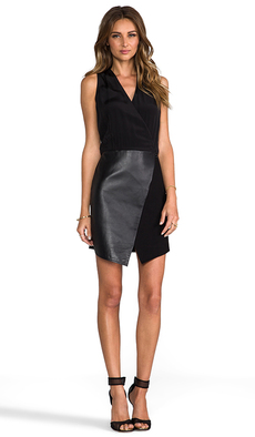 Tibi Asymmetrical Leather Wrap Dress in Black