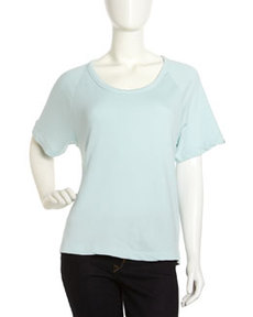 James Perse Raglan Short-Sleeve Sweatshirt, Oceanspray