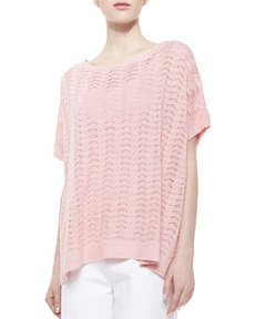 Joan Vass Scallop-Stitched Short-Sleeve Sweater, Women's