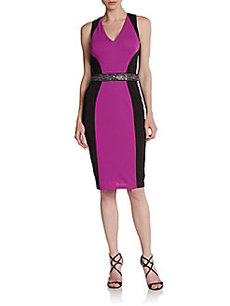 David Meister Sleeveless Colorblock Sheath Dress