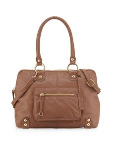 Linea Pelle Dylan Front-Pocket Leather Duffle Bag, Coffee Bean