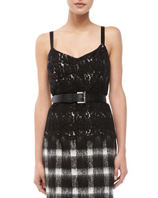 Michael Kors Two-Tone Lace Sleeveless Bustier
