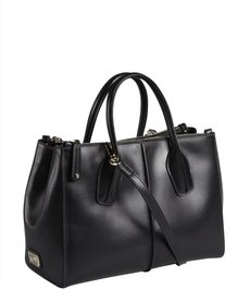 Tod's black leather welted seam convertible small satchel