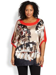 Marina Rinaldi, Sizes 14-24 Silk Leaf-Print Shirt