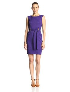 Ellen Tracy Women's Sleeveless Front-Tie Dress
