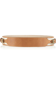 M Missoni Leather-trimmed cotton-canvas belt