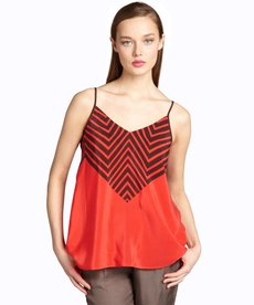 French Connection valarian red and black striped silk 'Zigzag' tank