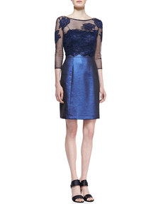 Kay Unger New York Mesh Embroidered-Top Cocktail Dress, Navy