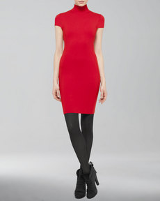 Akris punto Cap-Sleeve Mock-Neck Sheath Dress