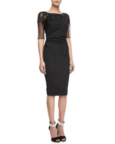Lela Rose Crosshatch-Embroidered Dress, Black
