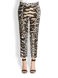 Roberto Cavalli Animal-Print Patchwork Silk Pants