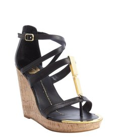 DV by Dolce Vita black leather 'Tabby' cork wedge heel sandals