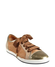 Fendi tan leather cap toe sneakers