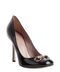 Gucci black patent leather square toe pumps