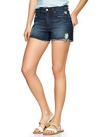 1969 destructed raw-edge maddie denim shorts