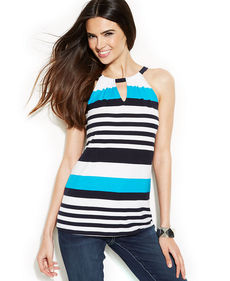 INC International Concepts Striped Halter Top