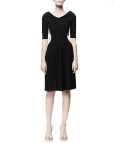 Half-Sleeve Contour Colorblock Dress, Black/White   Half-Sleeve Contour Colorblock Dress, Black/White