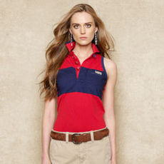Sleeveless Color-Blocked Polo