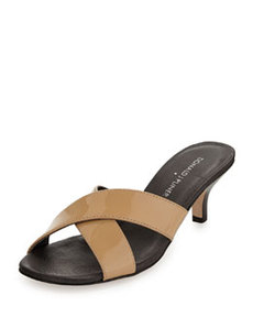 Donald J Pliner Raku Crossed Patent Leather Sandal, Nude