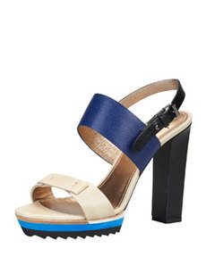Double-Strap Platform Sandal, Royal/Multi   Double-Strap Platform Sandal, Royal/Multi