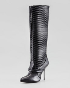 Pedro Garcia Darsy Perforated Tall Boot, Black