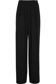 Chloé Satin-paneled crepe straight-leg pants